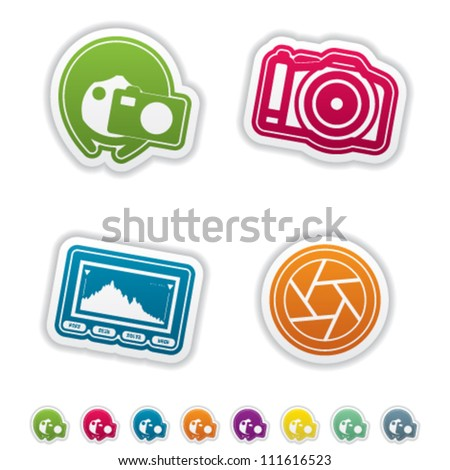 Photography tools & equipment icons set, pictured here from left to right, top to bottom:  Woman photography, Professional Camera (DSLR), Histogram, Shutter.