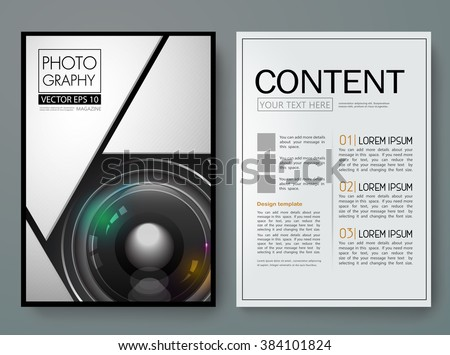 Photography vector magazine. Modern flyers brochure cover report portfolio design templates.A4 Layout with 3d lens camera. Use for business poster book and presentation.
