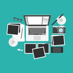 Photography workplace on top view. Designer desk photographer, collections of flat design of computer, camera and other elements.
