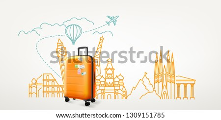 Photoreal suitcase with different travel destination elements. World travel vector concept