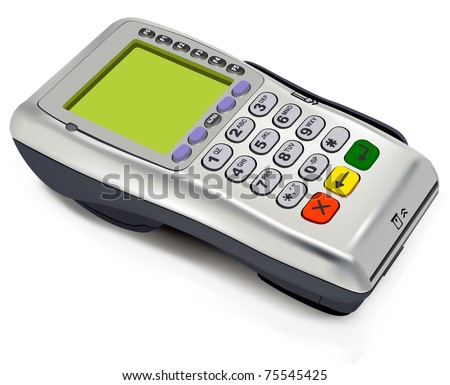 Photorealistic illustration of modern wireless POS-terminal (EPS10)