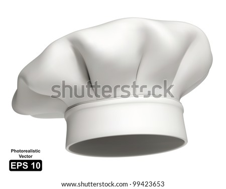 Photorealistic vector illustration of a modern white chef hat