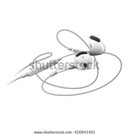 Photorealistic vector illustration of earphones on a white background. Generic design device icon.