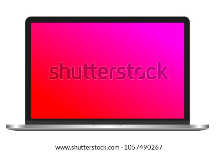 Photorealistic vector silver laptop apple macbook (mac) isolated on white background.