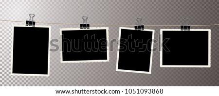 photos on rope with metal clips, editable vector illustration