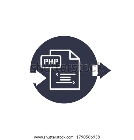 PHP file document icon. line icon isolated on white background. PHP file symbol. Vector sign