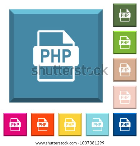 PHP file format white icons on edged square buttons in various trendy colors