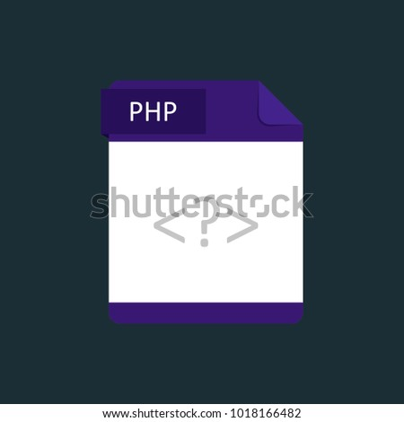 PHP file type icon. Vector illustration isolated on a dark blue background.