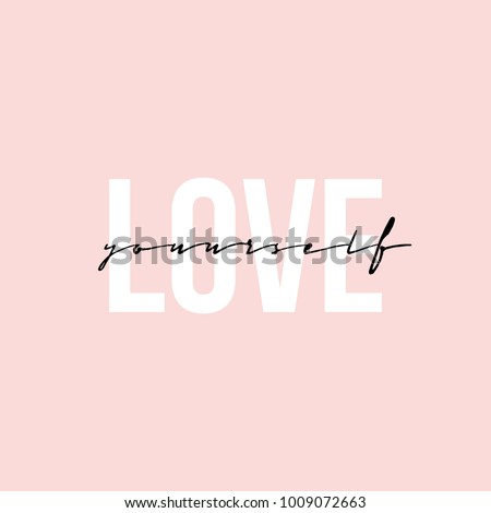 Stock Photo Phrase lettering writing quote love yourself handwritten black text isolated on pink background vector. Each word is on the separate layer