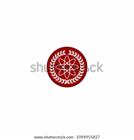 Physic Emblem with Atomic Logo Vector