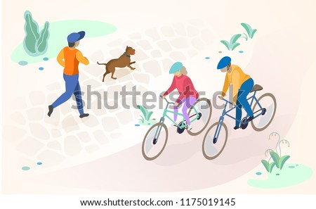 Physical Activity and Leisure in City Park Flat Vector Concept with People Characters Running and Playing with Dog, Riding Bicycle. Modern City Public Spaces, Recreational and Cycling Infrastructure