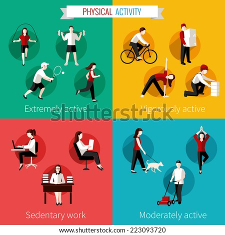 Physical activity flat set of extremely vigorously moderately active and sedentary work vector illustration stock photo
