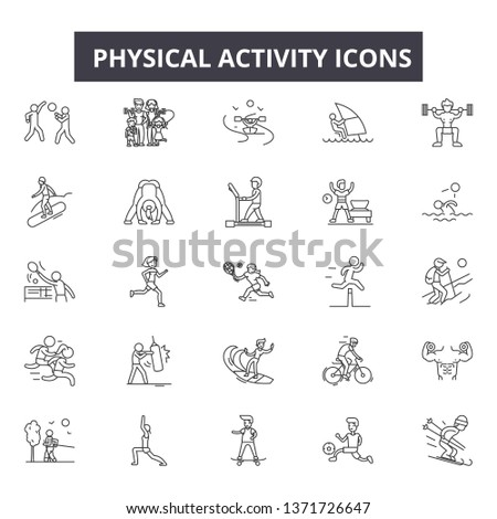 Physical activity line icons, signs set, vector. Physical activity outline concept, illustration: physical,activity,exercise,sport,healthy,man,health,training