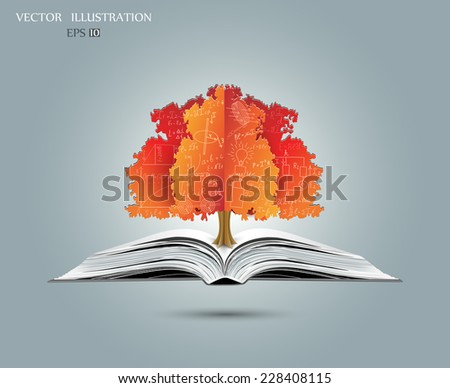 Physical concept orange paper tree from the mathematical equations and formulas growing from an open-book vector illustration modern template design
