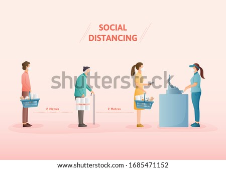 Physical distancing Concept. Keep at least two metres away from other people to protect yourself from catching coronavirus at supermarket.