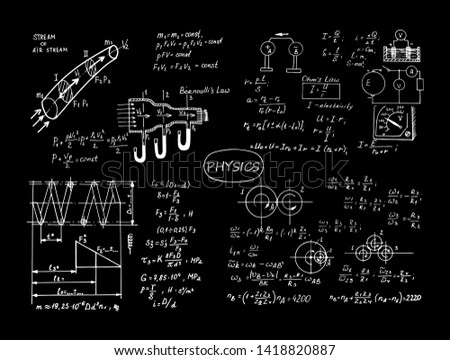 Physical equations and formulas on chalkboard. Vector hand-drawn illustration. Education and scientific set.