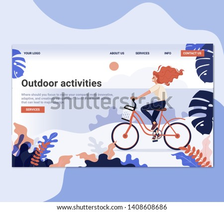 Physical Female Riding Bicycle Landing Page. Healthy Lifestyle Outdoor Concept. Active People Character in Park Website or Web Page. Summer Activities Flat Cartoon Vector Illustration