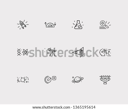 Physical icons set. Classical mechanics and physical icons with optical physics, condensed matter physics and gynaecology. Set of biotechnology for web app logo UI design.