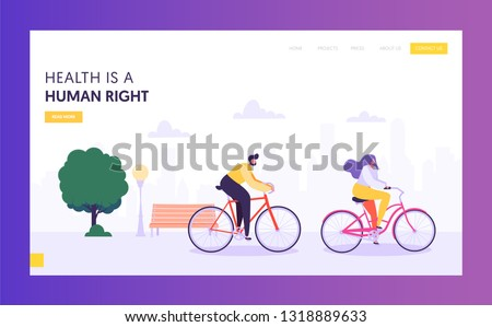 Physical Male and Female Riding Bicycle Landing Page. Healthy Lifestyle Outdoor Concept. Active People Character in Park Website or Web Page. Summer Activities Flat Cartoon Vector Illustration
