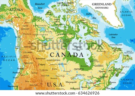 Canada map vector download free vector art stock graphics images physical map of canada gumiabroncs Image collections