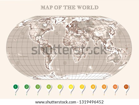Physical map of the World with outlines, major capitals, infographic