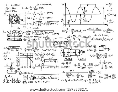 Physical notation with the equations, figures, schemes, plots and other calculations on whiteboard. Retro handwritten vector illustration. Scientific and educational background.