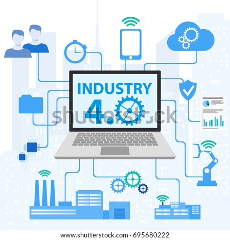 Physical systems, cloud computing, cognitive computing industry 4.0 infographic. Industryl 4.0 Cyber Physical Systems concept Infographic of industry 4.0. Industry 4.0 automation concept