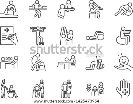Physical therapy line icon set. Included icons as recovery, body, Nursing Home, take care, hospital, physiology and more.