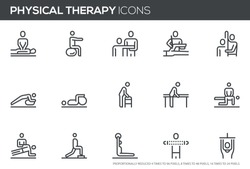Physical Therapy Vector Line Icons Set. Rehabilitation Treatment, Therapeutic, Physiotherapy, Recuperation. Perfect pixel icons, such can be scaled to 24, 48, 96 pixels.