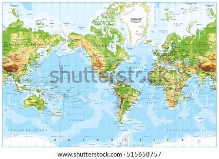 Physical World Map America Centered and Bathymetry. Highly detailed vector illustration. #515658757