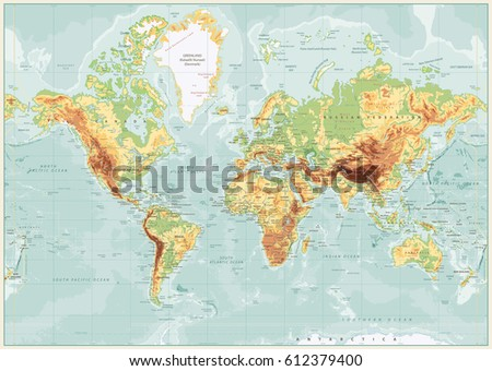 physical world map retro colors ...