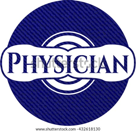 Physician badge with denim background