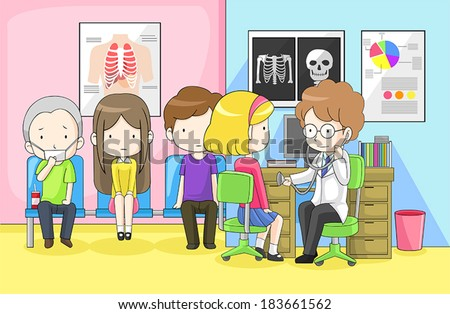 physician doctor or pediatrician pediatrist is examining group of children from school with cold flu infection - Cartoon Image Of Children
