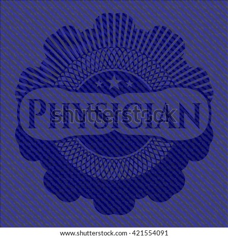 Physician emblem with denim texture