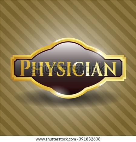 Physician gold badge or emblem