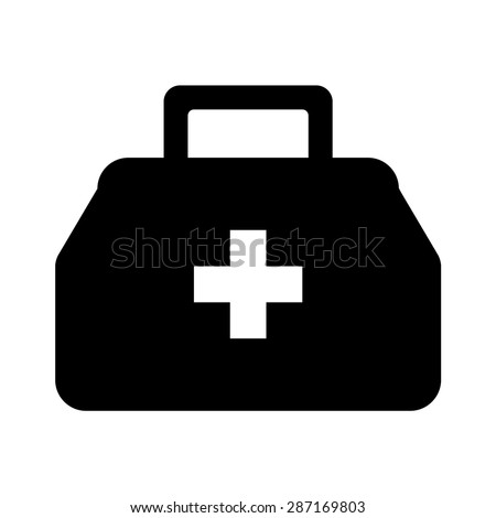 Physician or doctor bag flat vector icon for medical app and website
