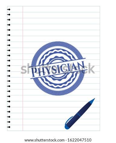 Physician pen effect. Blue ink. Vector Illustration. Detailed.