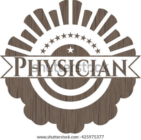Physician realistic wooden emblem