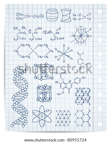 physics and chemistry on copybook page vector set