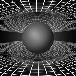 Physics - anomalous black hole phenomenon. Warp time and space. Sci-fi background. Vector illustration
