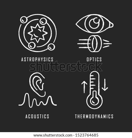 Physics branches chalk icons set. Astrophysics, optics, acoustics and thermodynamics. Physical processes and phenomenons. Scientific researches and subjects. Isolated vector chalkboard illustrations