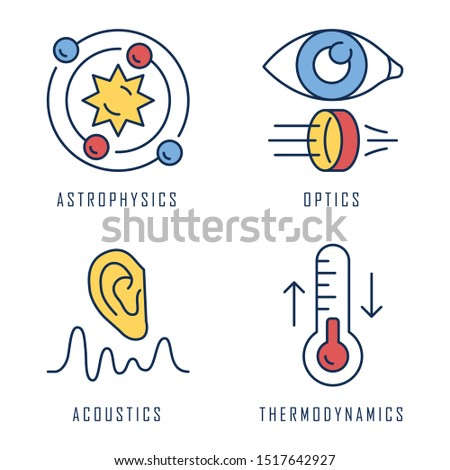 Physics branches color icons set. Astrophysics, optics, acoustics and thermodynamics. Physical processes and phenomenons. Scientific researches and subjects. Isolated vector illustrations
