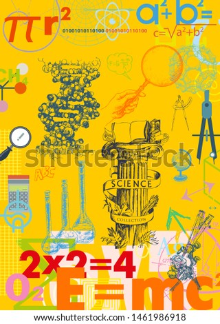 Physics, chemistry, astronomy and mathematics, biology. Back to School Elements. Hand drawn set. Background template from scientific formulas