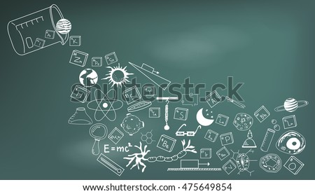 Physics, chemistry, biology and astronomy science doodle handwriting theory and tool icon pouring from lab beaker bottle in blackboard background paper used for school education decoration (vector)