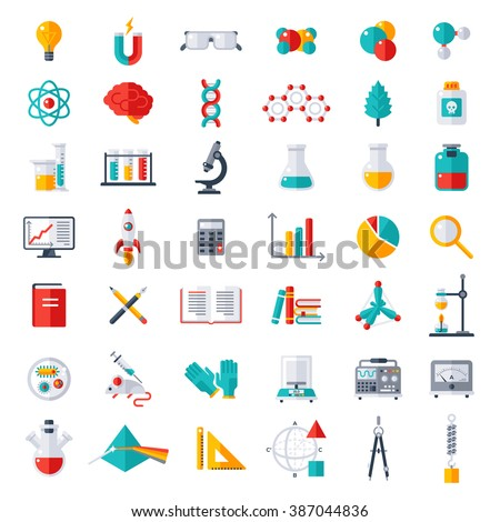 Physics chemistry biology laboratory and science equipment icons set flat design vector for Physics planning and design experiments