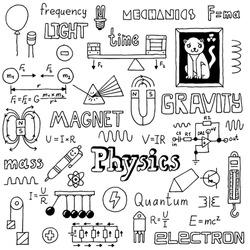Physics doodles. Hand drawn. Vector illustration.