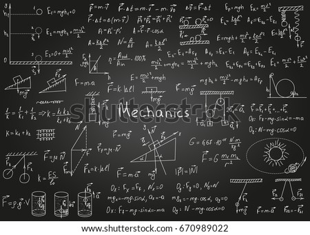 Physics formulas drawn by hand on a black chalkboard for the background. Vector illustration.