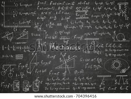 Physics formulas drawn by hand on a black unclean chalkboard for the background. Vector illustration.