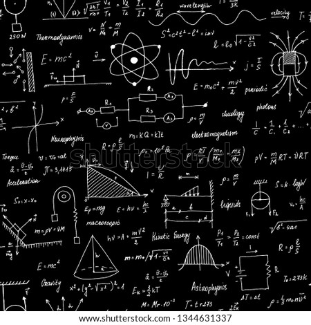 Physics Formulas. Seamless texture. School blackboard with the formulas and equations.