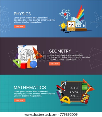 Physics, geometry and elementary mathematics vector banners. Science equipment. Concept in flat style design.